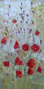 Poppies Field Paintings - Poppies and field flowers by Maria Karalyos