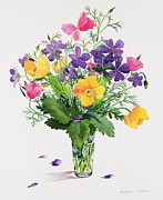 Flower Arrangement Paintings - Poppies and Geraniums by Christopher Ryland