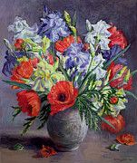 Still Life Of Flowers Art - Poppies and Irises by Anthea Durose