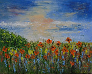 Poppies Field Paintings - Poppies and Lavender by Barbara Harper