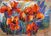 Blooms Pastels - Poppies And Lupines by Barbara Pommerenke