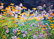 Primroses Paintings - Poppies and primrose by Alan Mintz