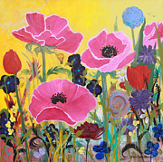Robin Maria Pedrero Metal Prints - Poppies and Time Traveler Metal Print by Robin Maria  Pedrero