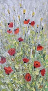 Poppies Field Paintings - Poppies and yellow flowers by Maria Karalyos