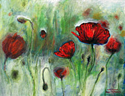 Red Flower Framed Prints - Poppies Framed Print by Arleana Holtzmann