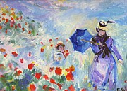 Red Poppies Drawings - Poppies At Argenteuil Claude Monet by Eric  Schiabor