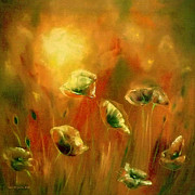 Gina Gray Paintings - Poppies at Sunset by Gina De Gorna