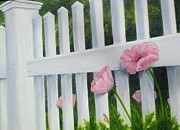 Perky Prints - Poppies at the fence Print by Arlene Cavalieri