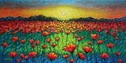 Perspective Paintings - Poppies At Twilight by John  Nolan