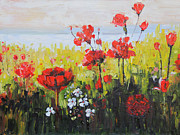 Poppies Field Paintings - Poppies by Ava Justine Coibion