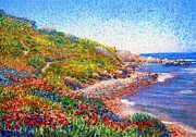 Shores Paintings - Poppies by the Sea by Jane Small