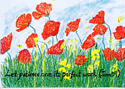 Christian Art Pastels Posters - Poppies Poster by Catherine Saldana