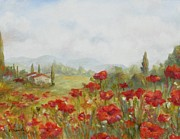 Tuscan Hills Painting Framed Prints - Poppies Framed Print by Chris Brandley