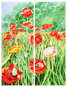 Orange Poppy Paintings - Poppies Collage I by Irina Sztukowski