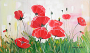 Denisa Laura Doltu Painting Framed Prints - Poppies Framed Print by Denisa Laura Doltu