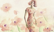 Fashion Art Prints Paintings - Poppies Fashion Illustration Watercolor Painting by Beverly Brown Prints