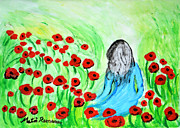 Catcher Painting Prints - Poppies Field Illusion Print by Ramona Matei