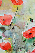 Poppies - Flower Painting Print by Ismeta Gruenwald