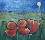 Pop Surrealism Paintings - Poppies for Barbara and Paul by Laurie Maves