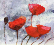 Poppies Artwork Paintings - Poppies Forever by Lutz Baar