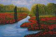 Poppies Field Painting Originals - Poppies Guards by Elena  Constantinescu