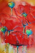 Late Mixed Media Prints - Poppies II Print by Jani Freimann