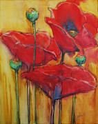 Drippy Mixed Media - Poppies III by Jani Freimann