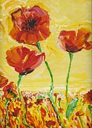 Red Poppies Drawings - Poppies Impression by Eric  Schiabor