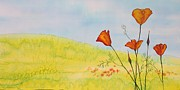 Orange Tapestries - Textiles Posters - Poppies in a field Poster by Carolyn Doe