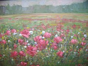 Poppies Field Paintings - Poppies in a landscape by Bart DeCeglie
