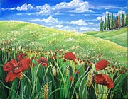 Roaming Painting Posters - Poppies in a wheat field Poster by Cecilia Putter