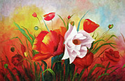 Full Bloom Mixed Media Acrylic Prints - Poppies In My Garden Acrylic Print by Zeana Romanovna
