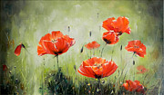Romania Paintings - Poppies in Sunset by Petrica Sincu