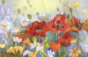 Yellow Flowers Painting Prints - Poppies in the Light Print by Sandy Linden