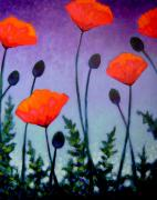 Texture Floral Painting Posters - Poppies In The Sky II Poster by John  Nolan