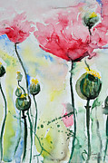 Ismeta Gruenwald Metal Prints - Poppies Metal Print by Ismeta Gruenwald