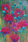 Mothers Day Mixed Media Prints - Poppies  Print by Jani Freimann