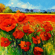 Picturesque Digital Art Prints - Poppies Print by Jean-Marc Janiaczyk