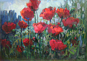 Modern Russian Art Posters - Poppies Poster by Juliya Zhukova