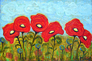 Poppies Field Paintings - Poppies by Michele Brewer
