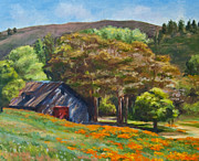 Dappled Light Painting Posters - Poppies Near the Barn Poster by Laura Sapko