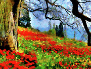 Blue Sky Mixed Media Framed Prints - Poppies On A Hill Framed Print by Zeana Romanovna