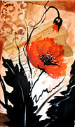 Featured Mixed Media Originals - Poppies on decoupage by Patricia Rachidi