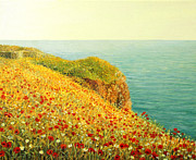Poppies Artwork Paintings - Poppies on Kaliakra by Kiril Stanchev