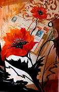 Featured Mixed Media Originals - Poppies on letters by Patricia Rachidi