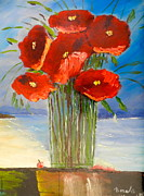 Pamela Meredith Framed Prints - Poppies on the Window Ledge Framed Print by Pamela  Meredith