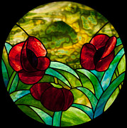 David Kennedy Glass Art - Poppies pendant by David Kennedy