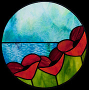 Art Nouveau Glass Art - Poppy 4 by David Kennedy
