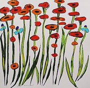 Red Poppies Drawings - Poppy Allure by John  Williams