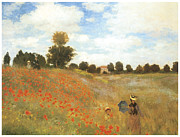 Field Of Flowers Paintings - Poppy Field at Argenteuil by Claude Monet